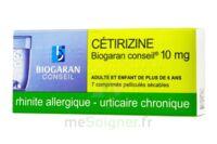 CETIRIZINE BIOGARAN CONSEIL 10 mg, comprimé pelliculé sécable